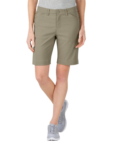 Dickies Womens Dps Dry Stretch Short: WOMENS SHORTS - PEBBLE BROWN: SRF100NP