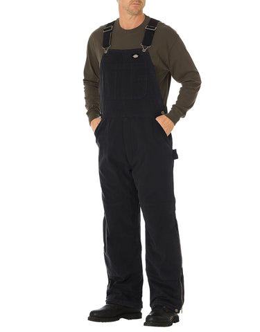 Dickies Sanded Duck Insulated Bib Overall: MENS BIB OVERALLS - RINSED BLACK: TB244RBK