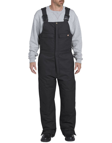 Dickies Sanded Duck Insulated Bib Overall: MENS BIB OVERALLS - BLACK: TB576BK