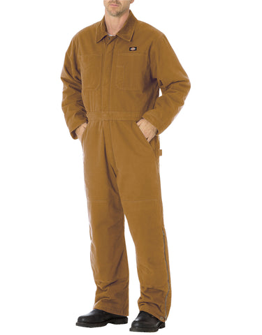Dickies Sanded Duck Insulated Coverall: MENS COVERALLS - RINSED BROWN DUCK: TV243RBD