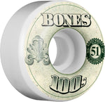 Bones Wheels 100's OG Formula 51mm 100a V4 Skateboard Wheels 4pk - White