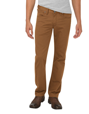 Dickies Slim Fit Tapered Leg 5-Pocket Pant: Stonewashed Brown Duck - XD814SBD