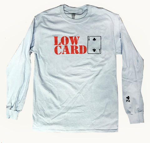 Lowcard Mag Mens Stacked Light Blue Long Sleeve T-Shirt