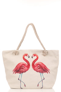 Flamingo Lovebirds Canvas Tote Bag