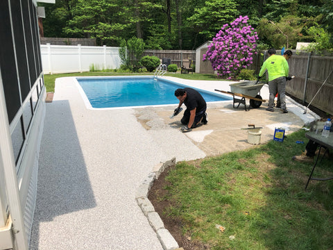 Pool deck rubber surface