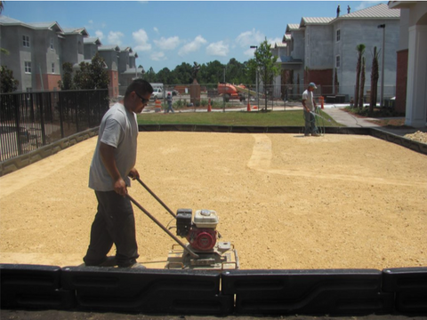aggregate compaction, playground surfacing site prep