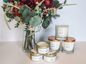 All natural candle collection with flowers
