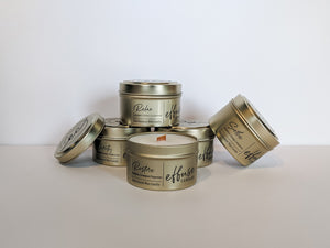 Effuse candles wood wick tin candles