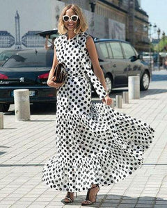 Ficcia White And Black Polka Dots Print Tiered Maxi Dress
