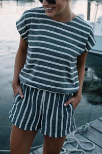 Ficcia Stripe Drawstring Backless Romper