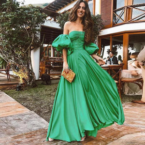 Ficcia Charm Off The Shoulder Plain Big Swing Maxi Dress
