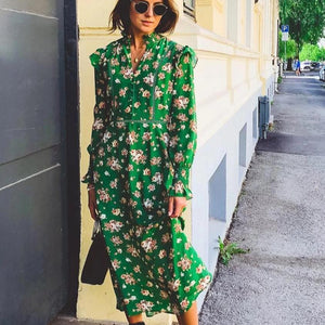 Ficcia Green Floral V-Neck Long Sleeve Midi Dress