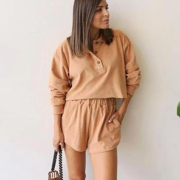 Ficcia Temperament Khaki Round Neck Long Sleeve Sweatshirt Two Piece Set
