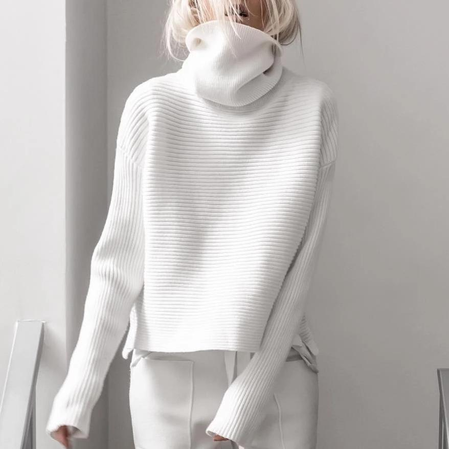 High Neck Long Sleeve Pure Color Sweater