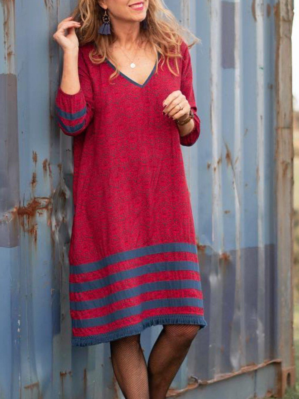 Striped Cotton Blend Long Sleeve Mini Dress