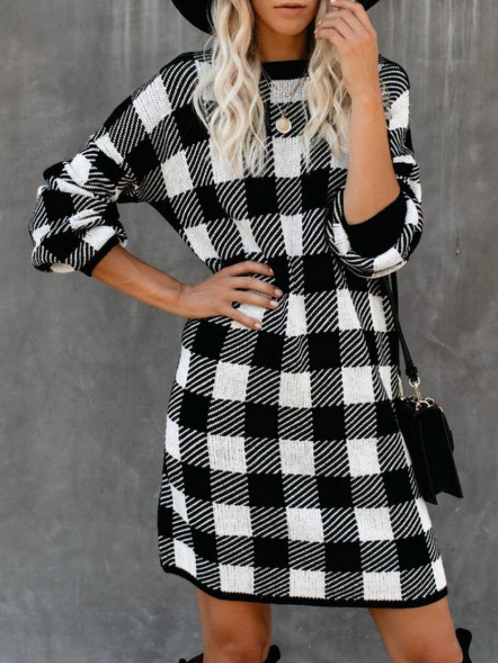 Ficcia Casual Grid Printed Long Sleeve Mini Dress