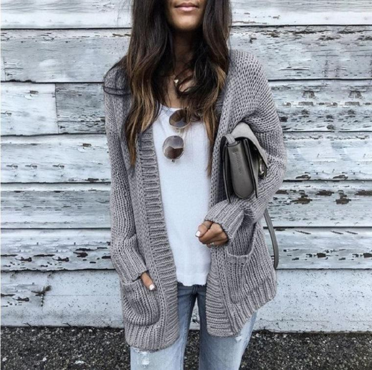 Ficcia Long Sleeve Loose Knit Cardigan