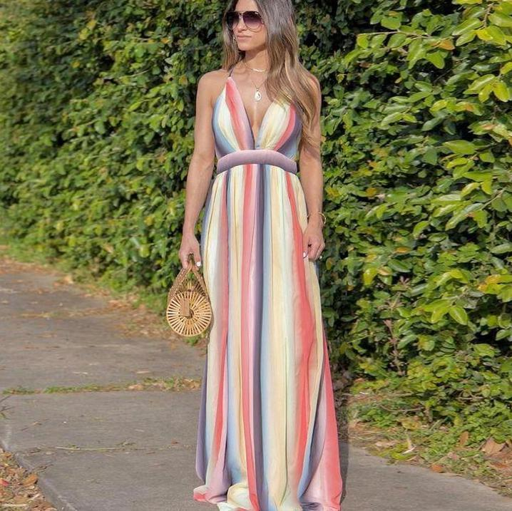 Ficcia Glamorous Rainbow Printed Deep V-Neck Sleeveless Vacation Beach Dress