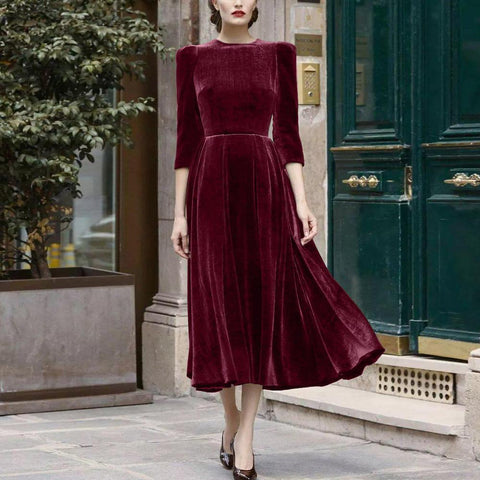 Ficcia Vintage 3/4 Sleeve Velvet Midi Dress