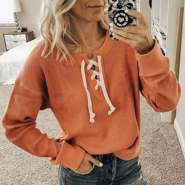 Fashion Lace Up Long Sleeve Pure Color Tee