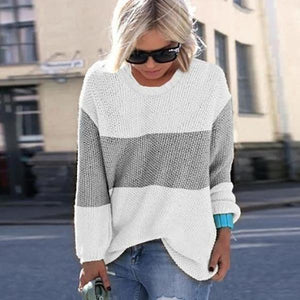 Ficcia Plain Round Neck Long Sleeve Sweater