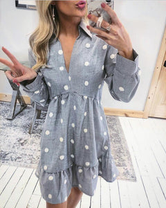 Ficcia V-Neck Balloon Sleeve Long Sleeve Print Mini Dress