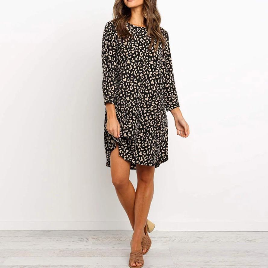 Fashion Round Neck Print Mini Dress