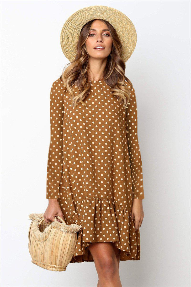 Ficcia Polka Dot Round Neck Mini Dress