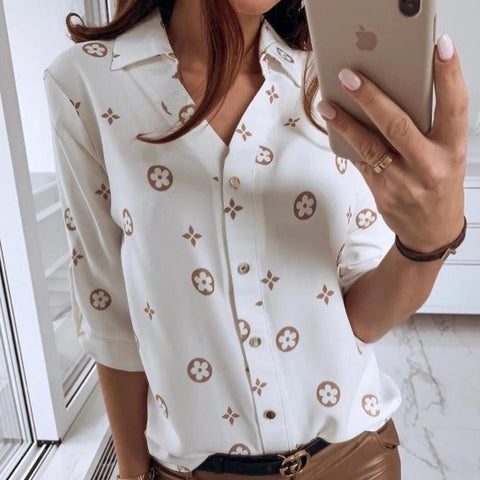 3/4 Sleeve Floral Print Blouse