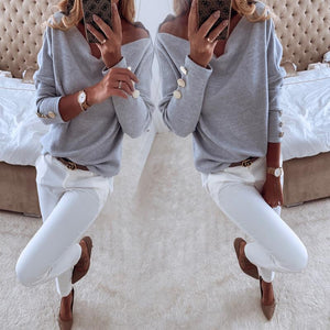 Casual Off The Shoulder Long Sleeve Tee