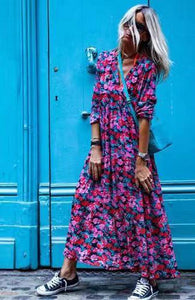 Classy V-Neck Print Long Sleeve Maxi Dress