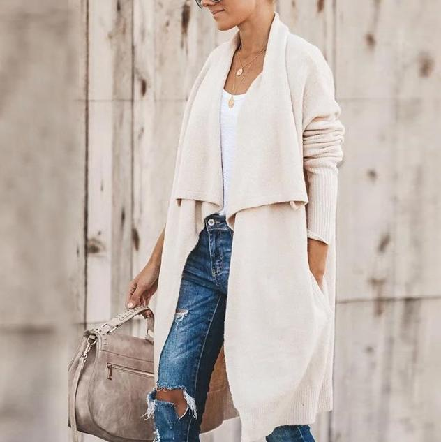 Ficcia Casual Plain Long Sleeve Knit Cardigan