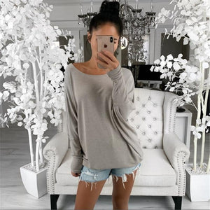 Ficcia Pure Color Long Sleeve Casual Tee