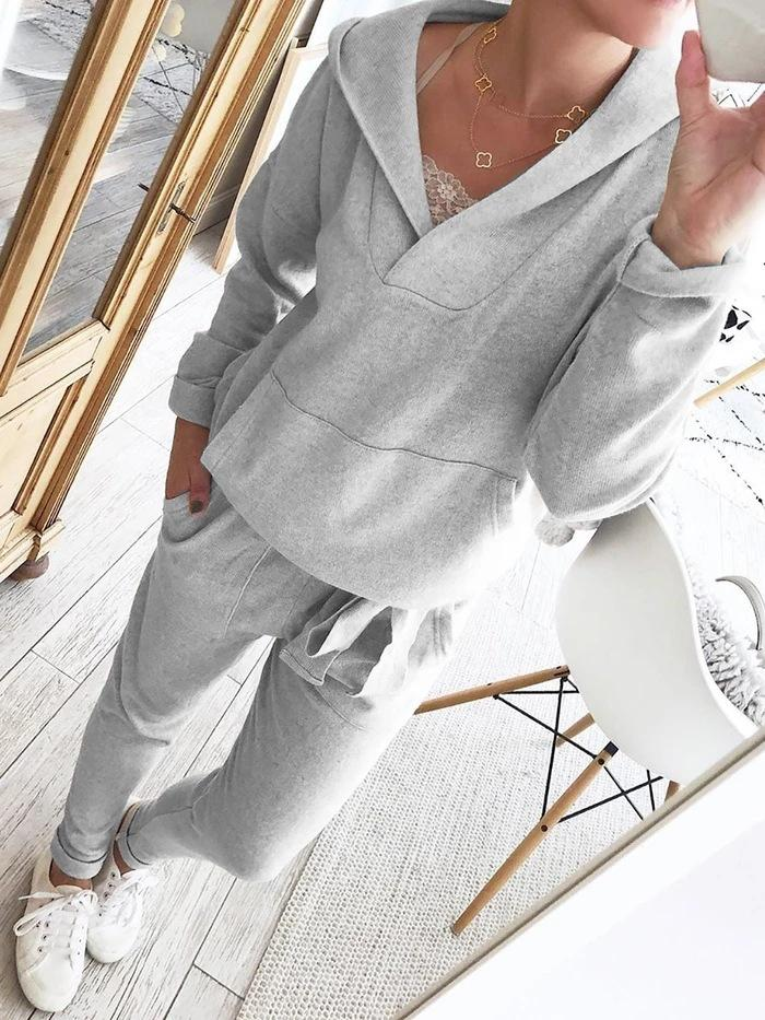 Ficcia Hooded Long Sleeve Pocket Two Piece Set