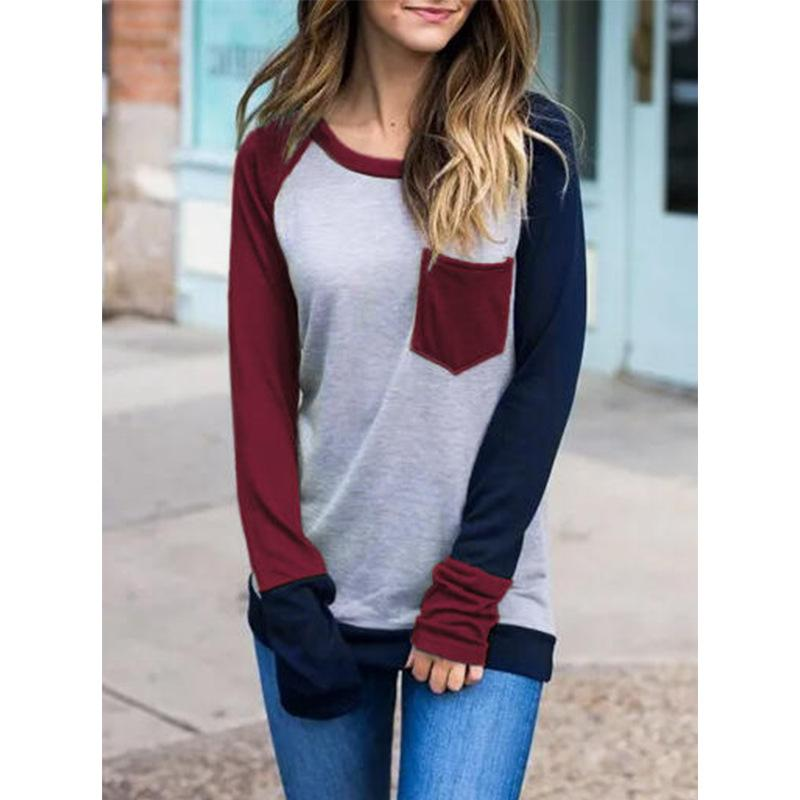 Ficcia Color Block Round Neck Long Sleeve Sweatshirt
