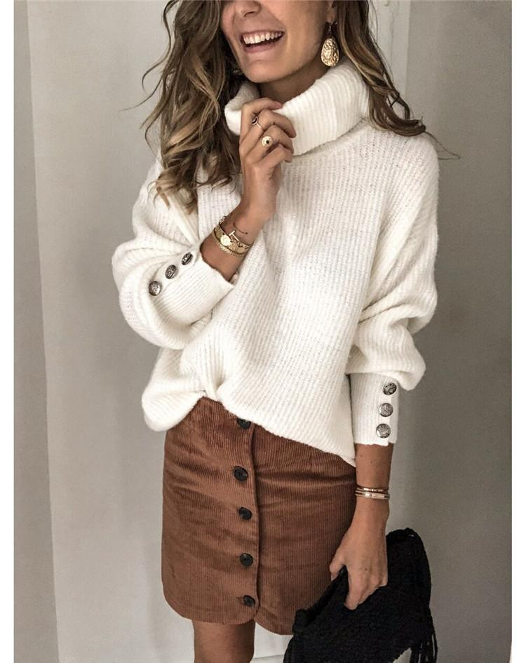 Ficcia White Turtle Neck Buttons Long Sleeve Sweater
