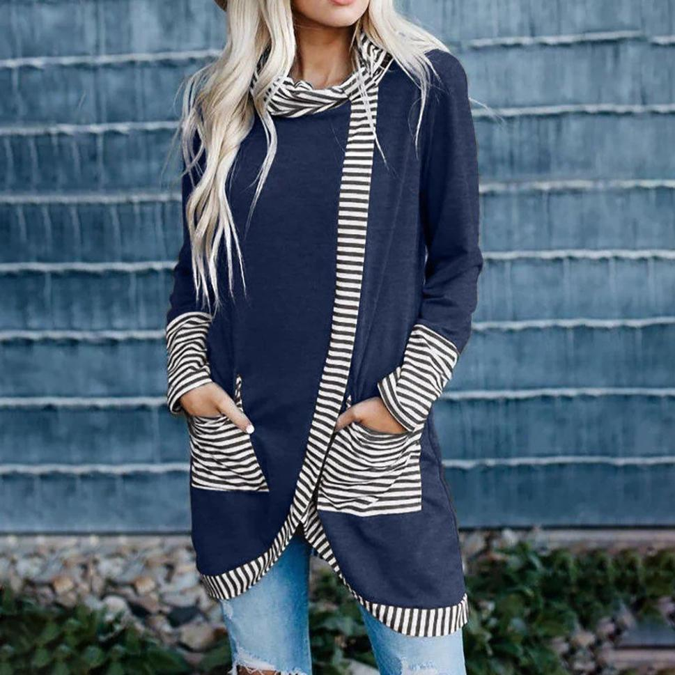 Ficcia Chic Stripe Splice Pile Collar Long Sleeve Tee