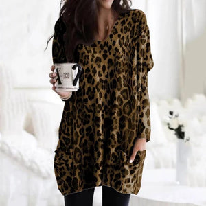 Ficcia Sexy V-Neck Long Sleeve Leopard Printed Casual Loose Tee