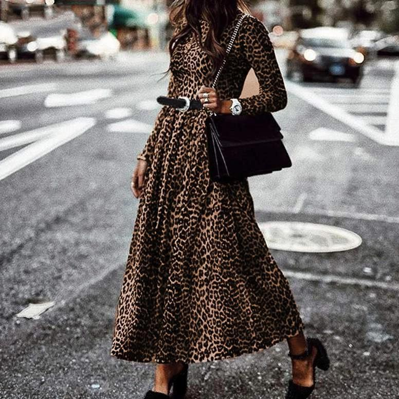 Ficcia Round Neck Long Sleeve Vintage Leopard Pleated Maxi Dress
