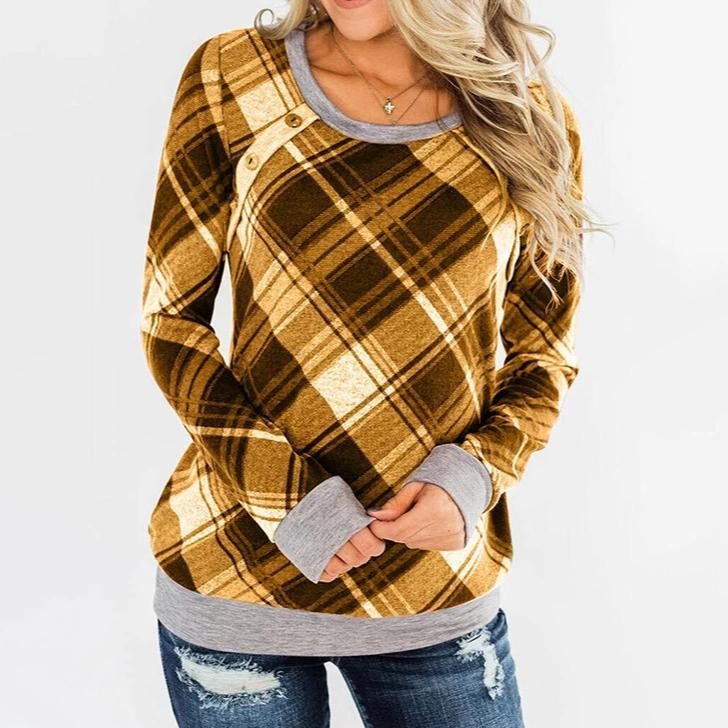 Ficcia Round Neck Printed Square Checkered Long Sleeve Tee