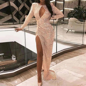 Ficcia Sexy Pink Long Sleeve Round Neck Thigh Split Slim Fit Evening Dress