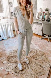 Ficcia Casual Plain Short Sleeve Lounge Jumpsuit