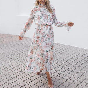 Ficcia Long Stand Collar Flared Sleeves Floral Pleated Dress