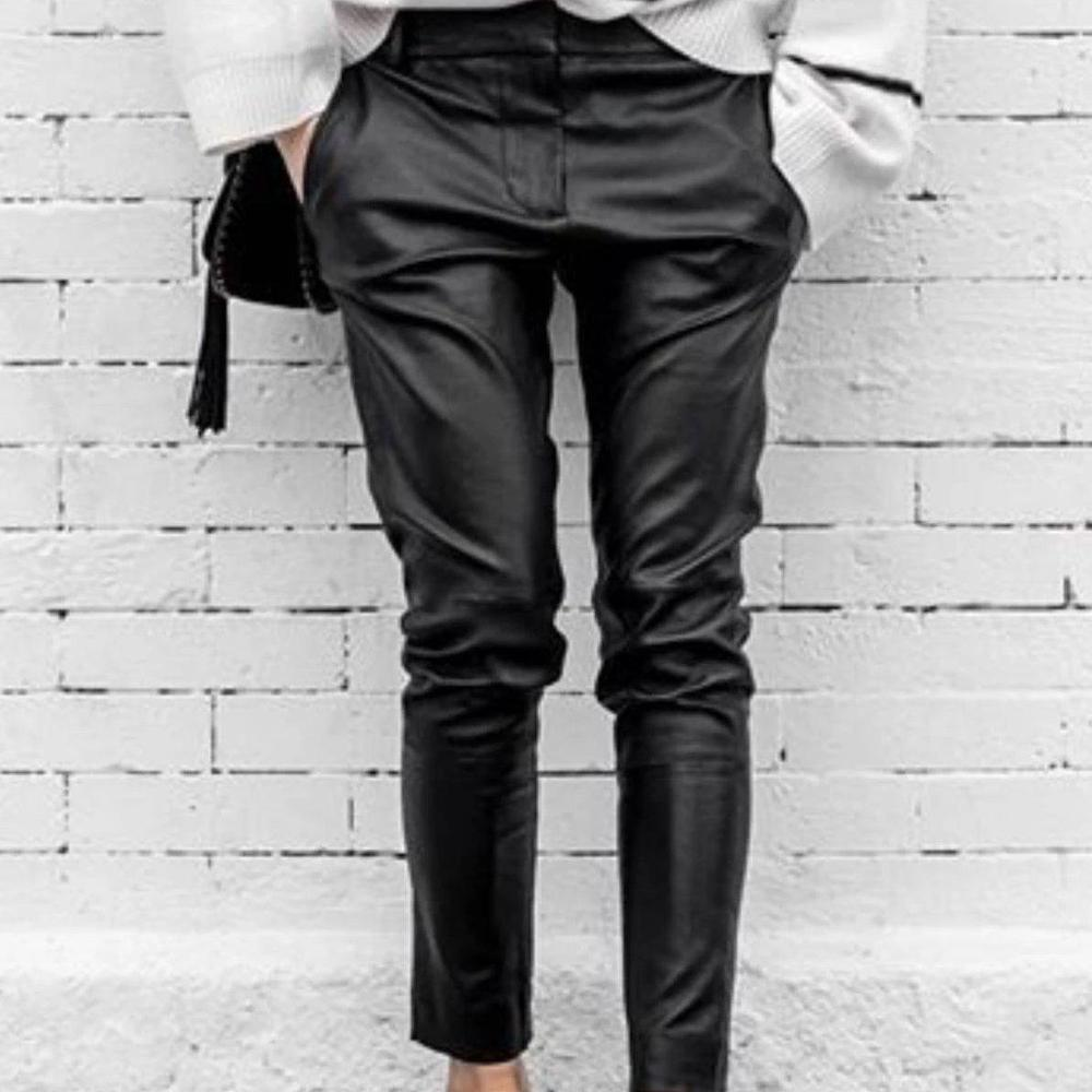 Ficcia Black Plain Leather Casual Pants