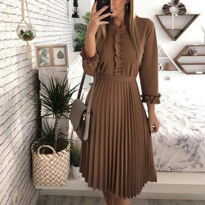 Ficcia Elegant Long Dleeve Ruffle Pleated Midi Dress