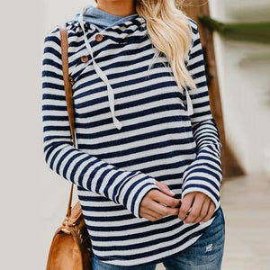 Ficcia Hoodie Long Sleeve Loose Striped Tee