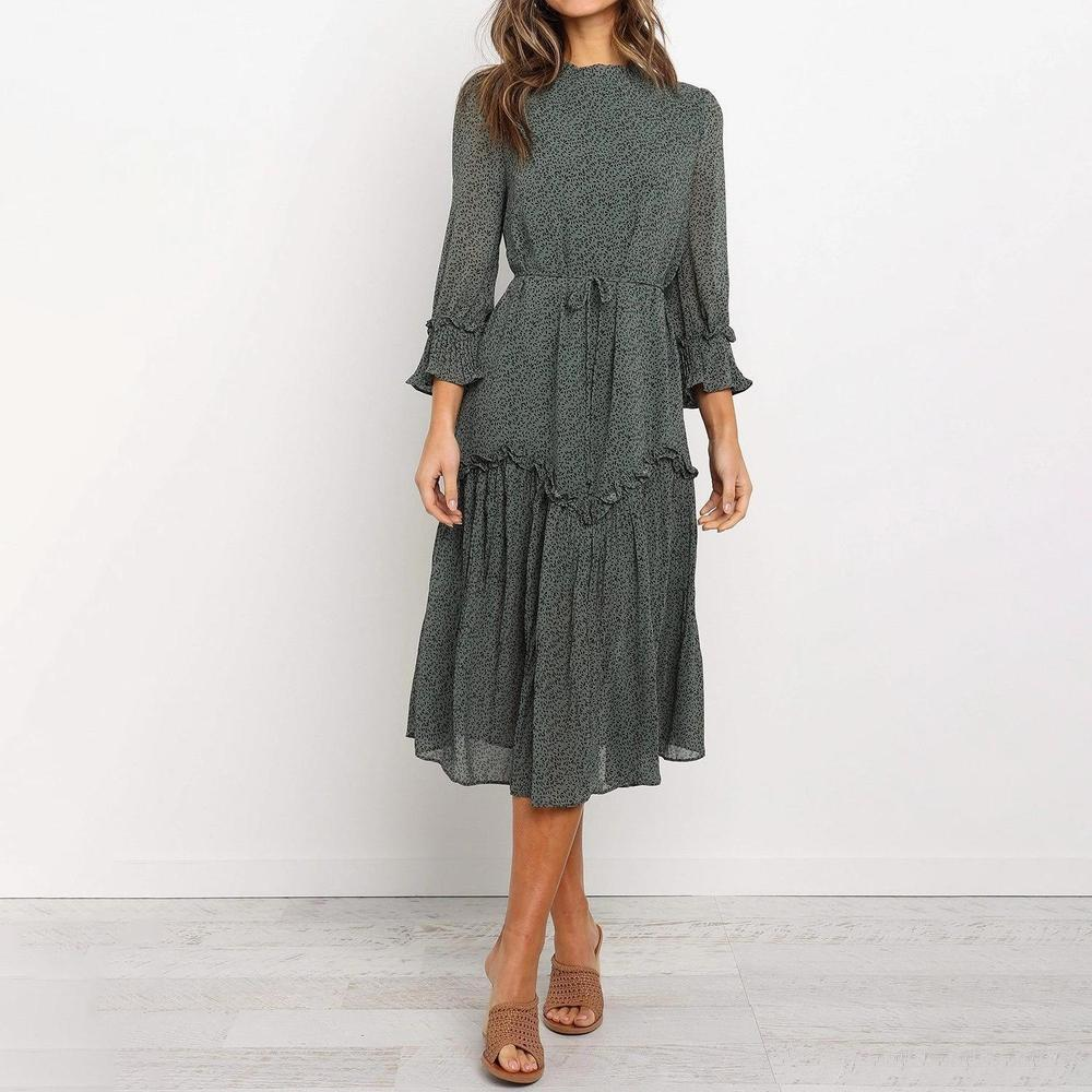 Ficcia Green Waist Tie Ruffle Midi Dress
