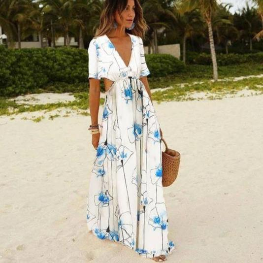 Ficcia Summer Beach Short Sleeve Print Maxi Dress