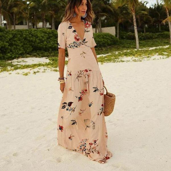 Ficcia Summer Floral Short Sleeve Wrap Beach Maxi Dress
