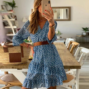Ficcia Polka Dot 3/4 Sleeve Mini Dress